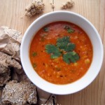 Vegan Red Lentil, Chickpea &amp; Coriander Soup