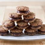 Vegan Walnut Sandwich Cookies With Dark Chocolate Fudge